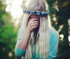 blond, hair, and flowers image