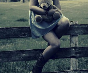 cowboy boots, teddy bear, and girl image