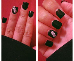 black, feather, and nails image