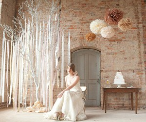 bride, dress, and decor image