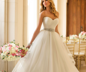 beautiful, wedding dress, and white dress image