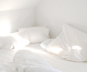 bed, cozy, and light image