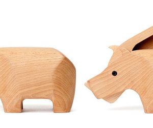 pigbank and wood. image