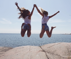 girls, jump, and friends image