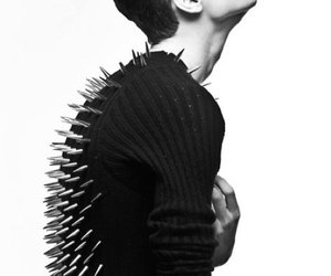 boy, black and white, and spikes image