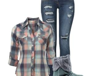 comfy, ripped jeans, and shirt image