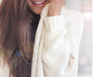 girl, smile, and sweater image