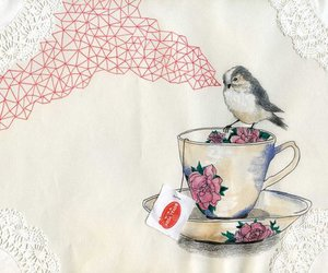 bird, tea, and art image