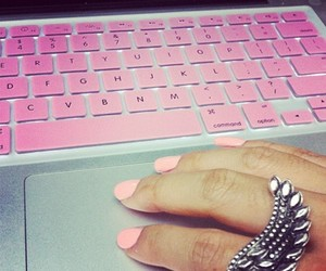 pink, nails, and ring image