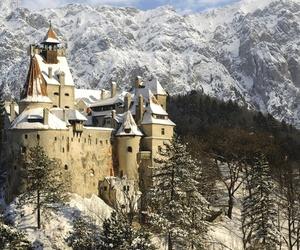 castle, winter, and romania image