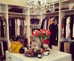 bags, flowers, and closet image