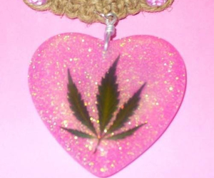 pink, weed, and glitter image