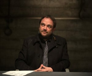 crowley, mark sheppard, and dean winchester image