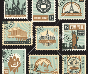 landmarks, stamps, and Letter image