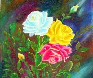 acrylic, flowers, and multicolored image