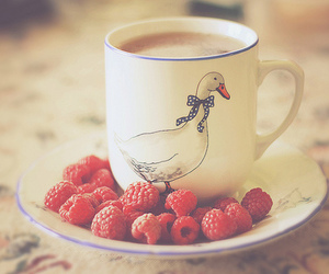 cup, raspberry, and coffee image