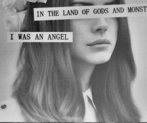 lana del rey, angel, and black and white image