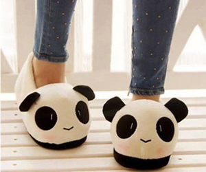 panda, cute, and slippers image
