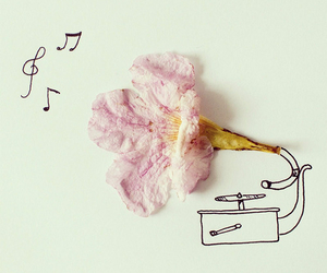 music, flowers, and art image