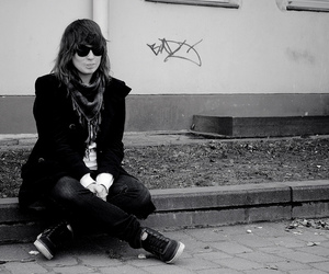 black, sitting, and black and white image