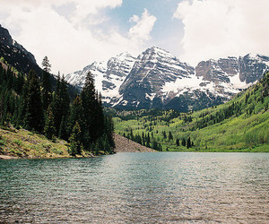 lake, snow, and forest image
