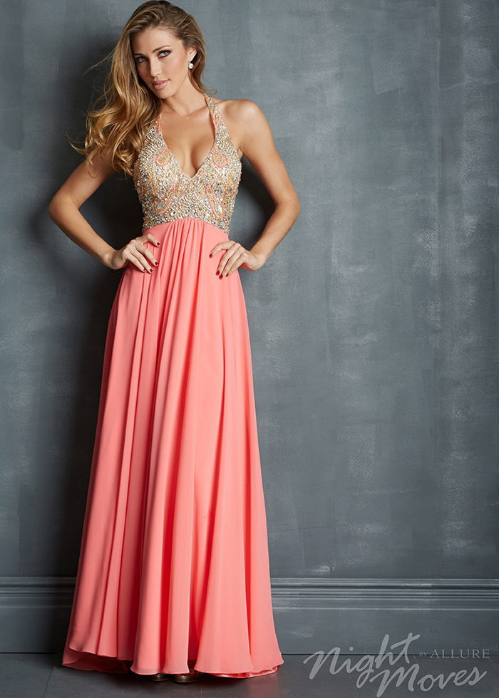 Night Moves 7082 - Coral Beaded Chiffon Halter Prom Dresses Online
