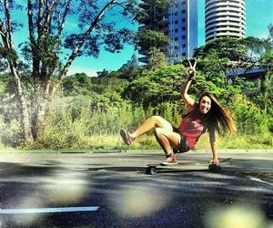 girl, longboard, and photograph image