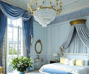 bedroom, blue, and luxury image