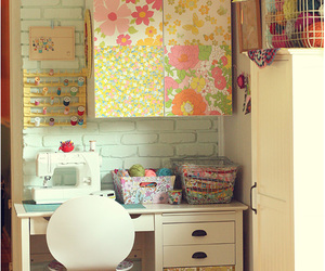 craft room, floral, and pastel colours image