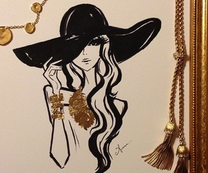 art, drawing, and gold image