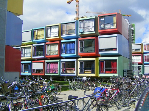 architecture, bycicles, and colors image