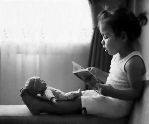 child, reading, and baby image