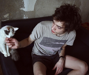 boy, pet, and cat image