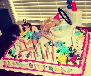 barbie, cake, and party image
