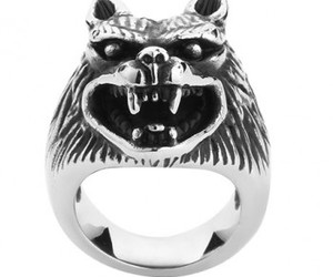 ring, wolf, and titanium ring image