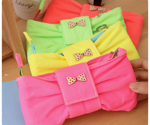 bows, colorful, and purse image