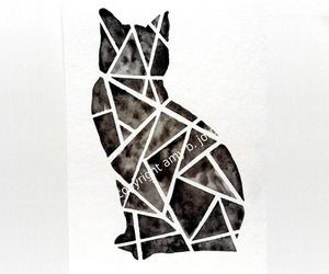 black and white, geometry, and kitty image