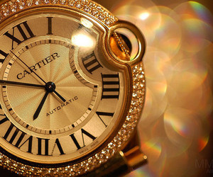 cartier, watch, and gold image