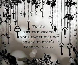 key, happiness, and quote image