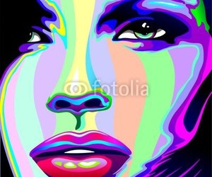 beautiful girl, graphic art, and portrait image