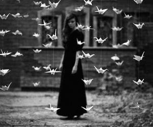 black and white, bird, and origami image