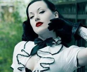 corset, red lips, and goth image