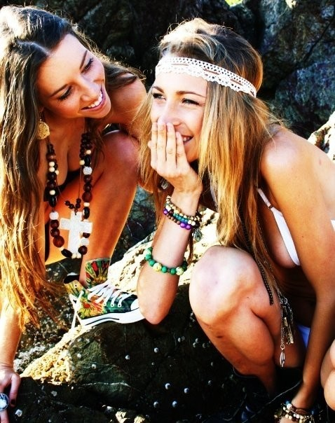 beads, blonde, and friend image