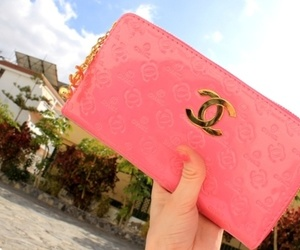 chanel, pink, and wallet image