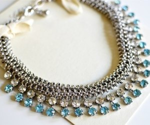 necklace, blue, and diamond image