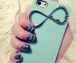 aqua, nails, and phone image