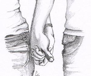 drawing, hands, and couple image