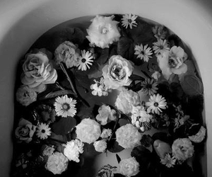 flowers, black and white, and bath image