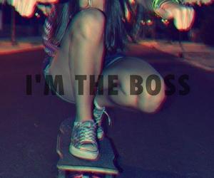 boss, girl, and skateboard image