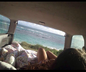 beach, blankets, and car image